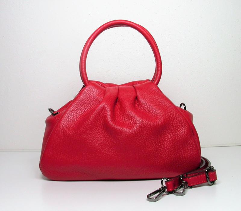 Soepel leren schoudertasje Pouch rood