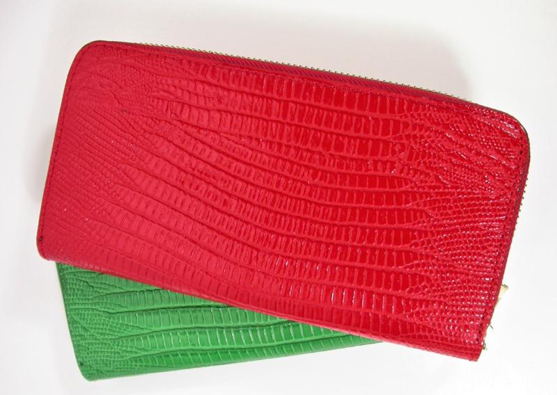 Leren portemonnee hagedissenprint rood