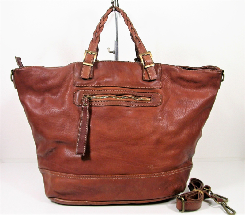 XL Vintage leren shopper tas met ritsvak bruin