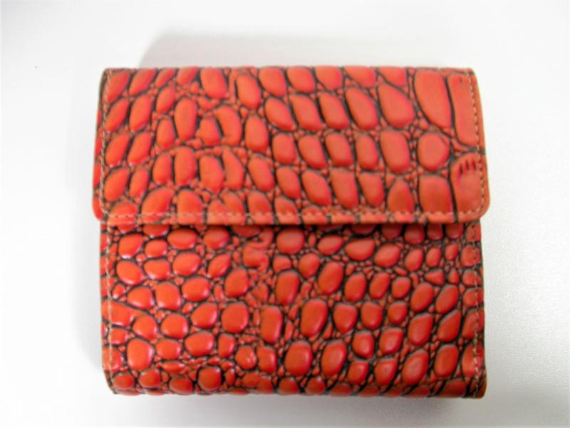 Leren portemonnee croco mandarin small