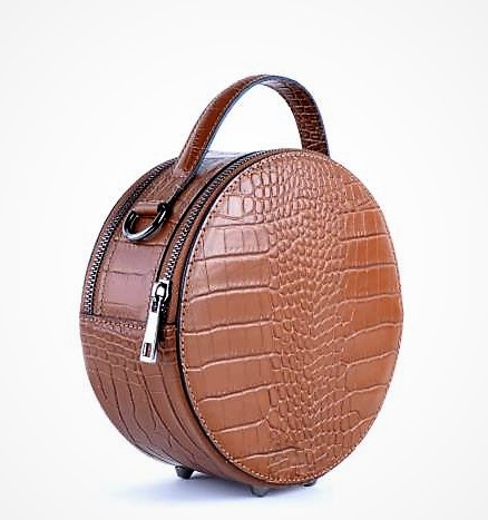 IT BAG leren schoudertasje Round crocoprint trendy tan