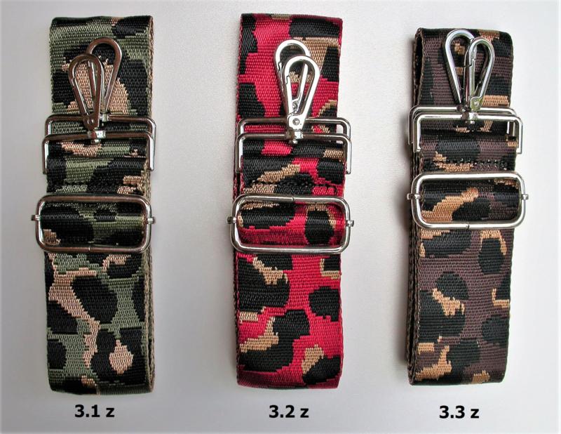 Designerstyle schouderriem animalmotief (3 kleurencombi's) zilver