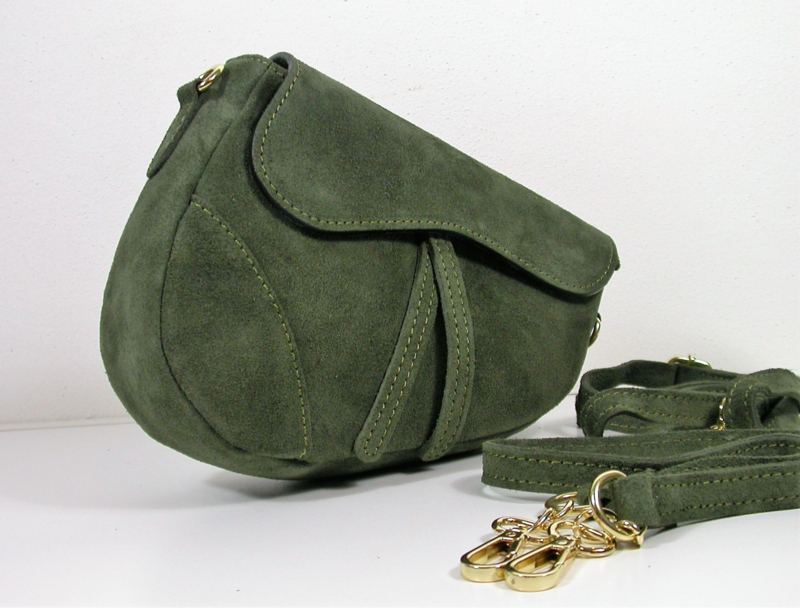 IT BAG Suedeleren saddlebag groen