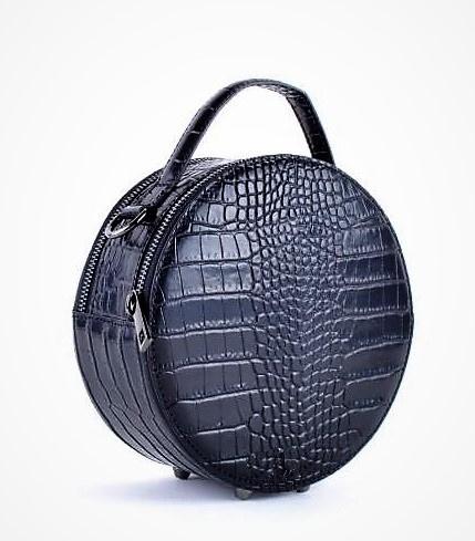 IT BAG leren schoudertasje Round crocoprint zwart