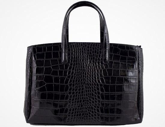 Leren citybag / werktas 3 ritsen crocoprint zwart