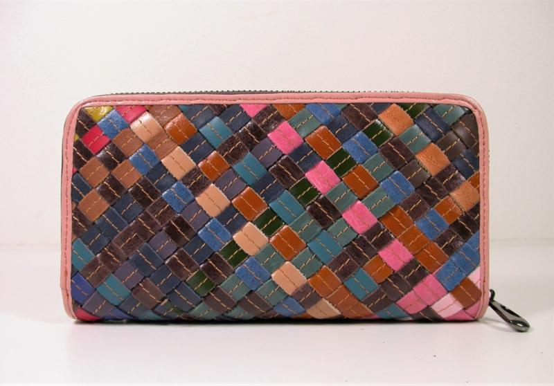 Leren portemonnee gevlochten multicolor 02
