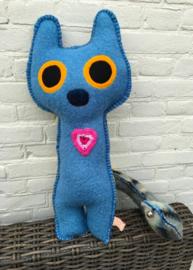 Verkocht! Uit eigen atelier: B-ing Cat Blue Harmony (big)  (nr 17)