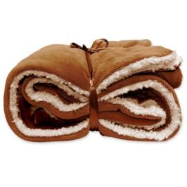 Vlies deken 150 x 200 cm Leather Brown.