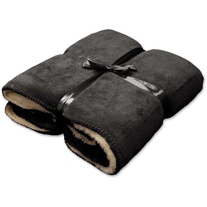 Vlies deken 130 x 160 cm dark grey.