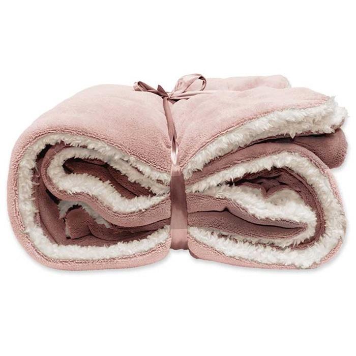 Vlies deken 150 x 200 cm Old Pink.