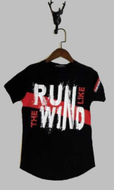 T-shirt -  Run like the wind zwart