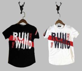 T-shirt -  Run like the wind zwart