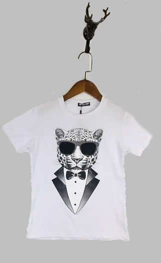 T-shirt -  Panter wit