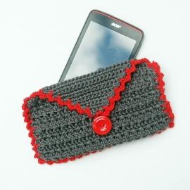 Telefoonhoesje grijs met rood, met klepje