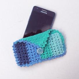 telefoonhoesje zeeblauw met klepje