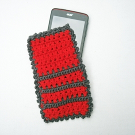 Telefoonhoesje rood en antraciet