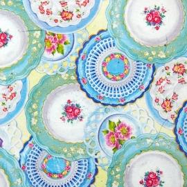 Bijzettafeltje met oud servies-print