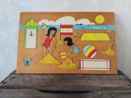 Vintage houten puzzel - strand