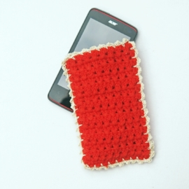 Telefoonhoesje rood en crème
