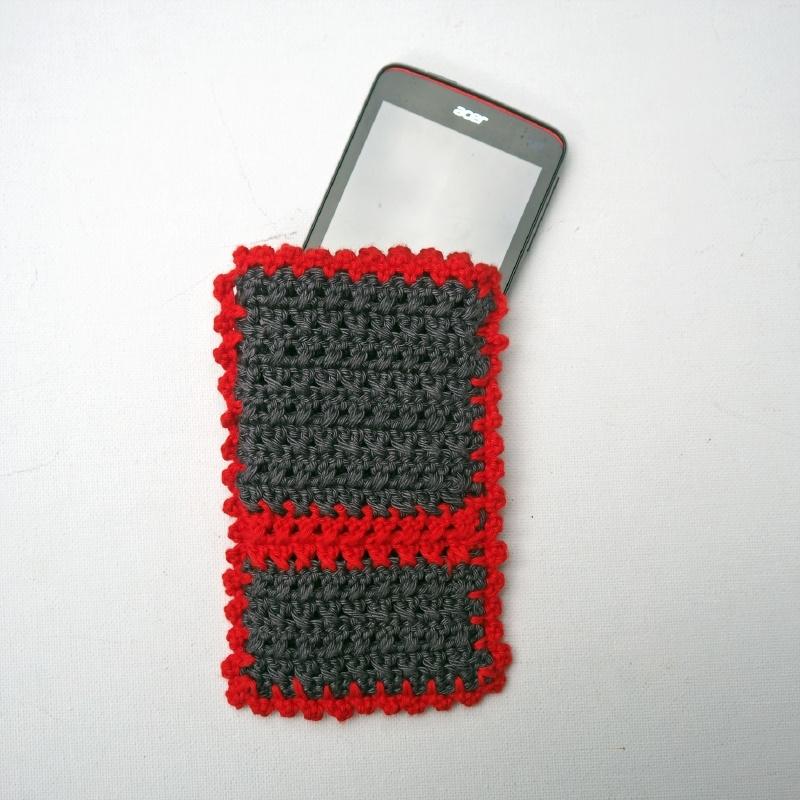 Telefoonhoesje antraciet en rood