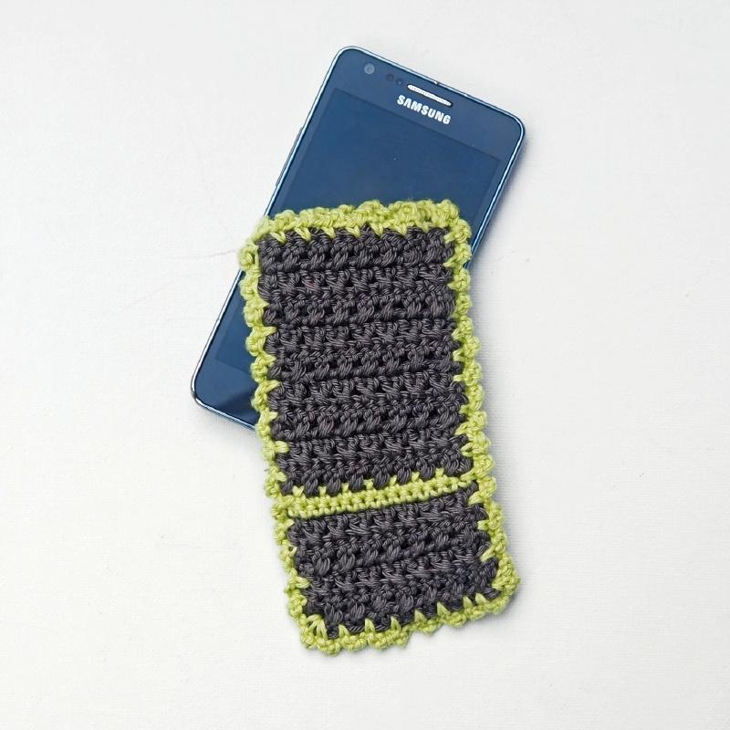 Telefoonhoesje grijs met groen