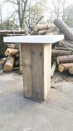 Statafel steigerhout kolom met wit blad