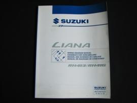 Werkplaatshandboek Suzuki Liana (RH413 en RH416) elektrische schema's (maart 2002)