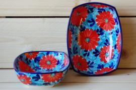 Ensaladera Flor Azul Roja rechthoekig 2