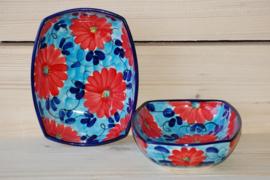 Ensaladera Flor Azul Roja rechthoekig 3