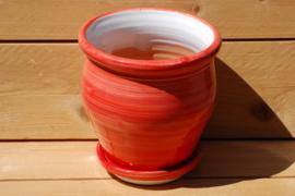Tuinpot bol Butano rojo 26 x 24 cm met schotel