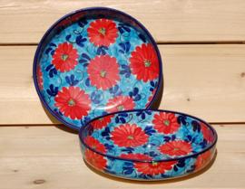 Ensaladera Rond Extra Flor Azul Rojo