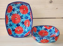 Ensaladera Flor Azul Roja rechthoekig 1