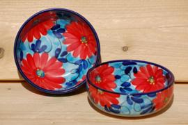 Cuenco Flor Azul Roja