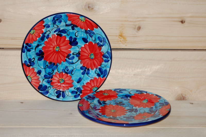 Dinerbord Flor Azul Roja 24 cm (nieuw)