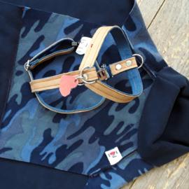 Hondentuigjes leer/jeans met clip | Maat XXXS