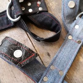 Hondentuig jeans & leer Maat M
