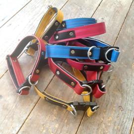 Custommade halsbanden koe of leer & jeans met clip