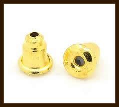 Ost.019: 10st. Goudkleurige Oorbellen Stoppers/Dopjes van 6x5mm.