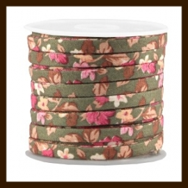 TRK787: 20cm Trendy Plat Koord van 5mm: Olive Green Rose.