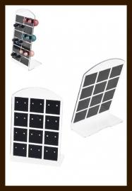 ORD2: Oorbellen Display Geschikt voor 12 paar Oorbellen van 9x6.5cm: Zwart-Transparant.