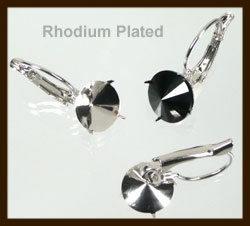 BO01: Set van 2st. Metalen Klap Oorbellen Rhodium Plated 23x10mm voor 8mm steen.