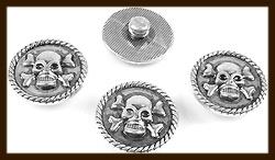 CH028: Chunk-Drukknoop-Easy Button van 18mm: Doodshoofd/Schedel/Skull.