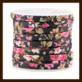TRK773: 20cm Trendy Plat Koord van 5mm: Black Rose.