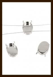 STK01: 5st. Metalen Ovale Rijg-Strass Kastjes van 14x10mm.