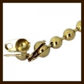 KL08: 10st. Ball-Chain Kalotjes van 4x3mm: Goud. (Sluiting voor Ball Chain Ketting van 2mm).