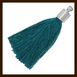 KW.021: Stoffen Kwastje met Kapje van 35mm: Deep Emerald Blue Zircon.