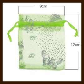 Organza Zakje van 12x9cm: Groen met Vlinders.