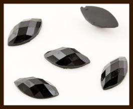 PSZ06: 10st. Ovale Facet Geslepen Acryl Plakstenen van 10x5mm: Zwart.