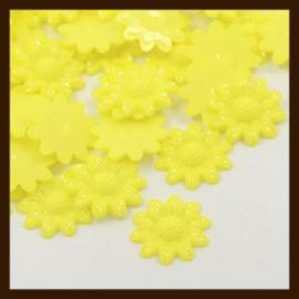 Acryl plaksteen Bloem van 20mm: Geel.