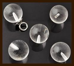 NK175: Natuursteen Plakstenen/Kralen rond met halfgeboord gat: Natural Crystal.